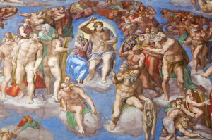 The Last Judgment by Michelangelo in the Sistine Chapel.